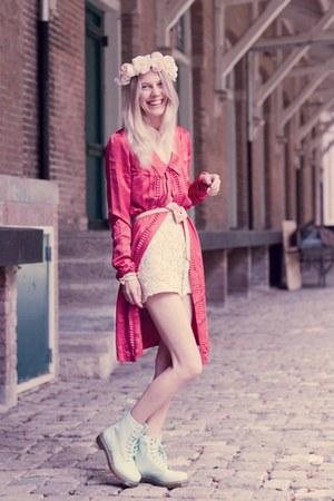 hot pink Viktor&Rolf H&M blouse - aquamarine mint color Dr Martens boots