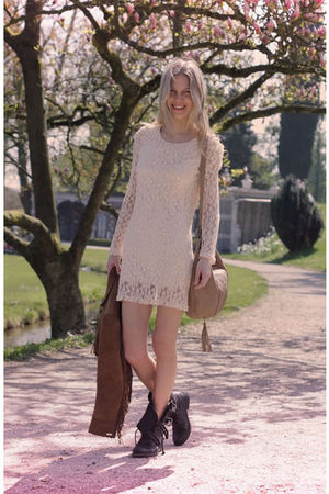 white Ebay dress - black All Saints boots - brown vintage jacket - brown vintage