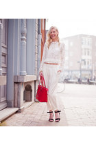 white Zara blouse - red Guess bag - white H&M pants
