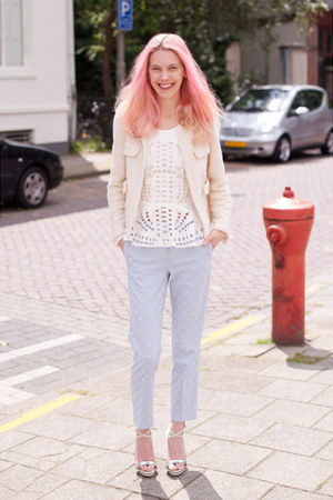 light blue Topshop pants - ivory Zara blazer - white H&M Trend top