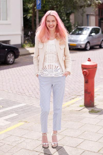 light blue Topshop pants - ivory Zara blazer - white H&M Trend top