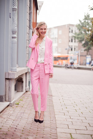 bubble gum Choies blazer - bubble gum Choies pants - ivory H&M Trend blouse