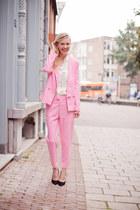 bubble gum Choies blazer - bubble gum Choies pants - ivory H&M Trend blouse