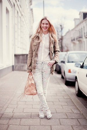 white Zara blouse - cream Topshop jeans - army green H&amp;M jacket