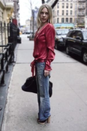 H&M dress - thrifted jeans - Miu Miu - Chloe shoes