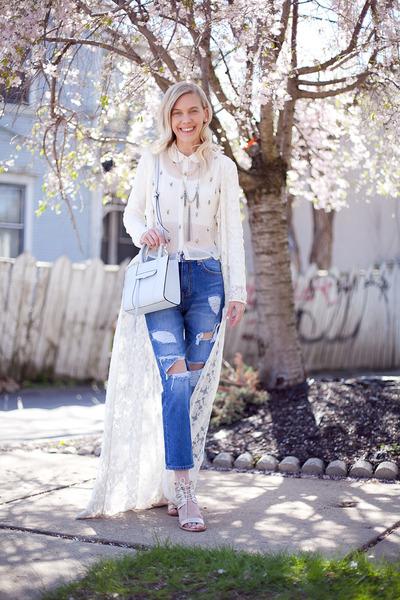 off white Topshop top - blue storets jeans - sky blue Rebecca Minkoff bag