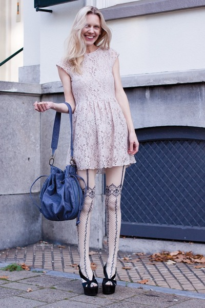 eggshell H&amp;M dress - cream dress&amp;co tights - blue r&amp;em bag