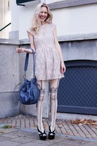eggshell H&M dress - cream dress&co tights - blue r&em bag