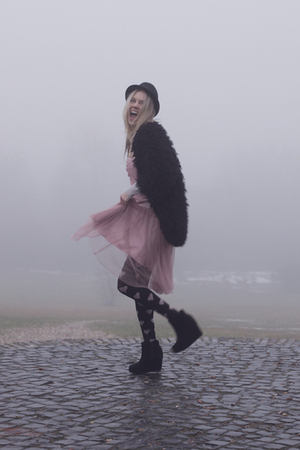 black Jeffrey Campbell shoes - pink vintage dress - black Queens Wardrobe coat