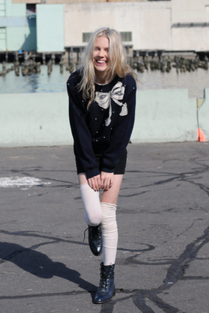 black American Apparel dress - vintage sweater - pink DIY H&M socks - Roper boot