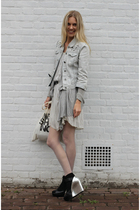 H&M jacket - 31 phillip lim dress - Nine West shoes - DIY canvas Tote accessorie