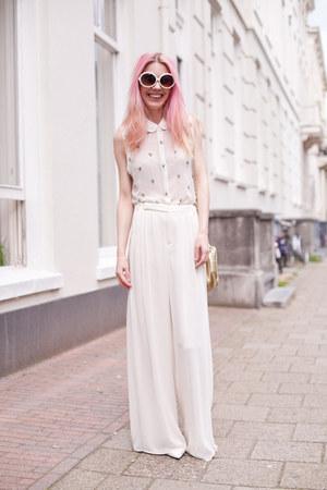 white Mango heels - gold vintage fake chanel bag - ivory Topshop top