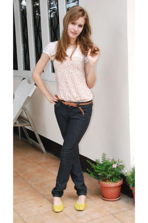 Walmart jeans - CPS Chaps shirt - Ruby belt - diva earrings