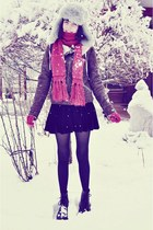 Pull and Bear jacket - Dr Martens boots - Zara hat - romwe skirt