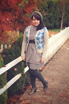 heather gray Gap cardigan - charcoal gray Tulle Clothing dress - charcoal gray G