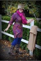 tawny thrifted vintage hat - deep purple Tucker for Target dress - camel thrifte