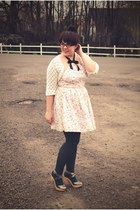 white Rodarte for Target dress - dark green We Love Colors tights - ivory thrift