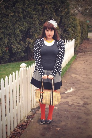 burnt orange We Love Colors tights - yellow gifted purse - black Old Navy skirt