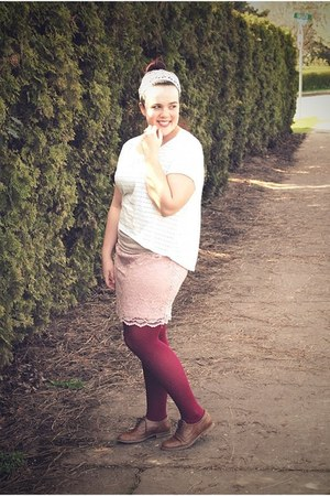 maroon HUE tights - ivory H&M top - light pink thrifted skirt - brown Steve Madd