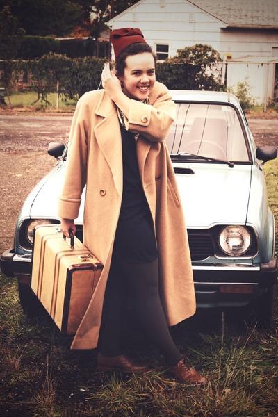 camel camel hair coat - navy Tucker for Target dress - brown Steve Madden shoes