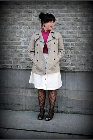 beige thrifted coat - brown tights - brown miz mooz shoes - white shade skirt -