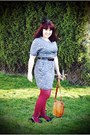 Blue-ruche-dress-maroon-tights-black-seychelles-heels