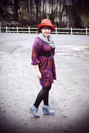 purple Tucker for Target dress - burnt orange hat - black We Love Colors tights