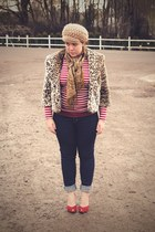 brown leopard Forever 21 coat - navy Gap jeans - ruby red franco sarto heels