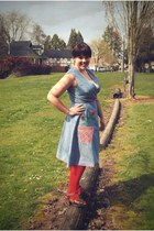 light blue vintage dress - red We Love Colors tights - dark brown miz mooz clogs