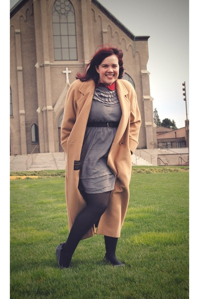 heather gray Tulle dress - camel thrifted coat - charcoal gray Blowfish flats