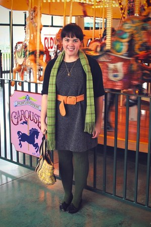 gray dress - olive green borrowed from husband scarf - orange thrifted belt