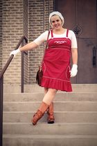 red BB Dakota dress - white hat - white gloves - brown Frye boots - brown vintag
