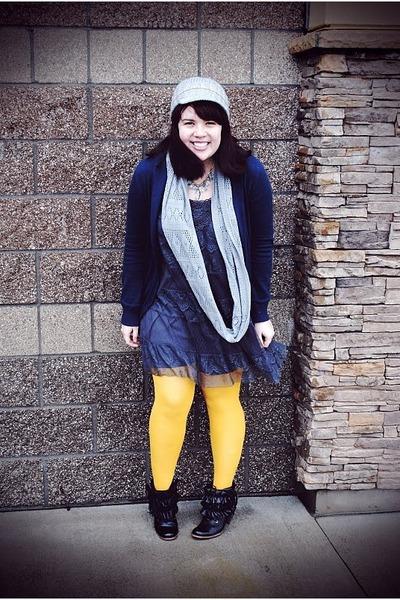 black Jeffrey Campbell boots - heather gray Target dress - blue Gap cardigan