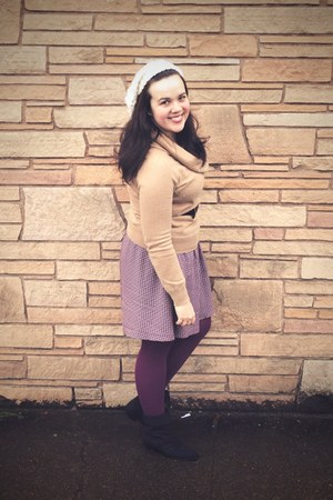 black Aldo boots - ivory Gap hat - camel Gap sweater - purple We Love Colors tig