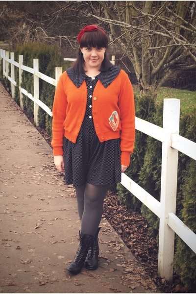 black Dolce Vita for Target boots - carrot orange moms letterman sweater - black