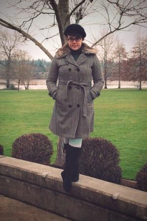 black Minnetonka boots - gray Gap coat - aquamarine We Love Colors tights