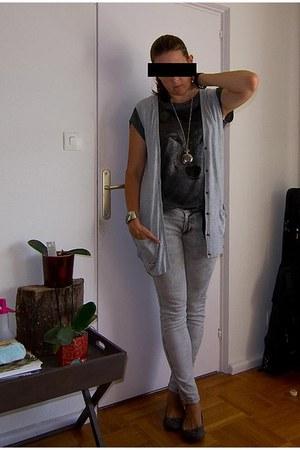 H&M cardigan - Zara jeans - Zara shirt - H&M flats - H&M belt