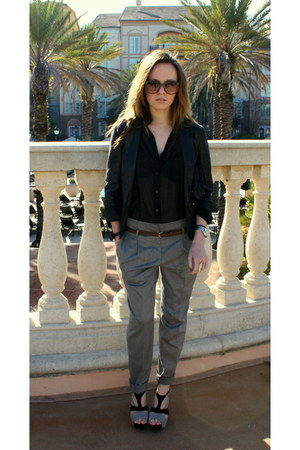 sheer H&M blouse - f21 sunglasses - Marc by Marc Jacobs watch - Zara pants