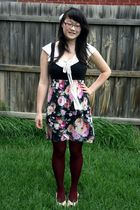 black dress - beige Living Doll top - purple thrifted tights - beige thrifted sh