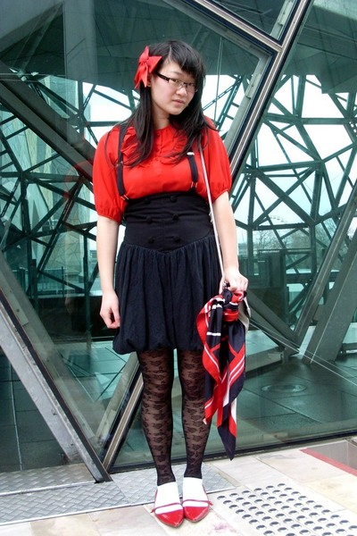 blouse - Episode skirt - stockings - Alchemy shoes - purse - scarf