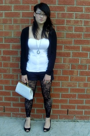 Target Australia stockings - Target Australia top - Dotti shorts - savers purse