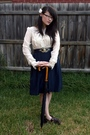 White-living-doll-blouse-blue-vintage-skirt-blue-vintage-belt-brown-vintag