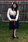 White-living-doll-blouse-blue-vintage-skirt-blue-vintage-belt-brown-vintag