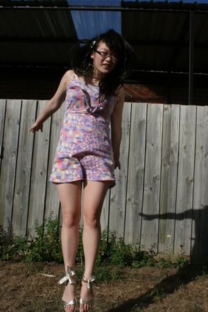 purple Mermaid Sister dress - gold Kmart shoes - gold accessories
