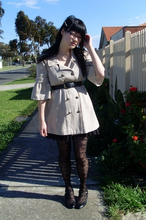 Review coat - Kmart dress - belt - tights - Christine  Kelly shoes