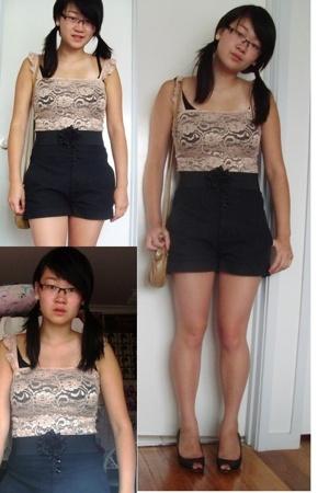 Sportsgirl top - accessories - Living Doll shorts - Equip earrings - belt - cott