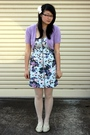 Blue-bardot-dress-purple-thrifted-top-white-thrifted-tights-white-thrifted