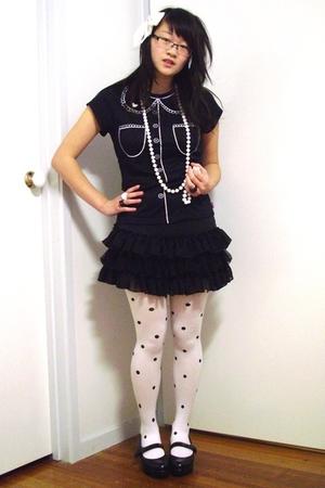 white Bettina Liano stockings - black Django & Juliette shoes