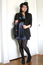 blue thrifted dress - black savers blazer - black cotton on leggings - black Roc