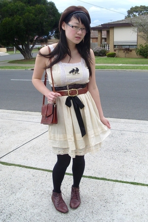The dolls boutique dress - thrifted boots - hat - belt - purse